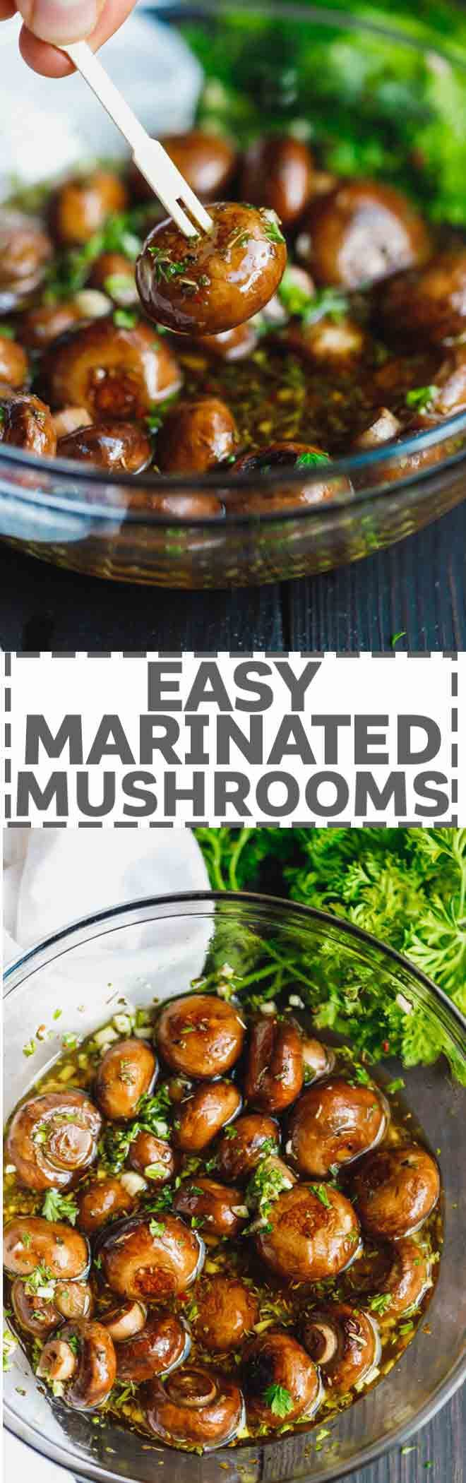 Easy marinaded mushrooms on an appetizer wooden pick