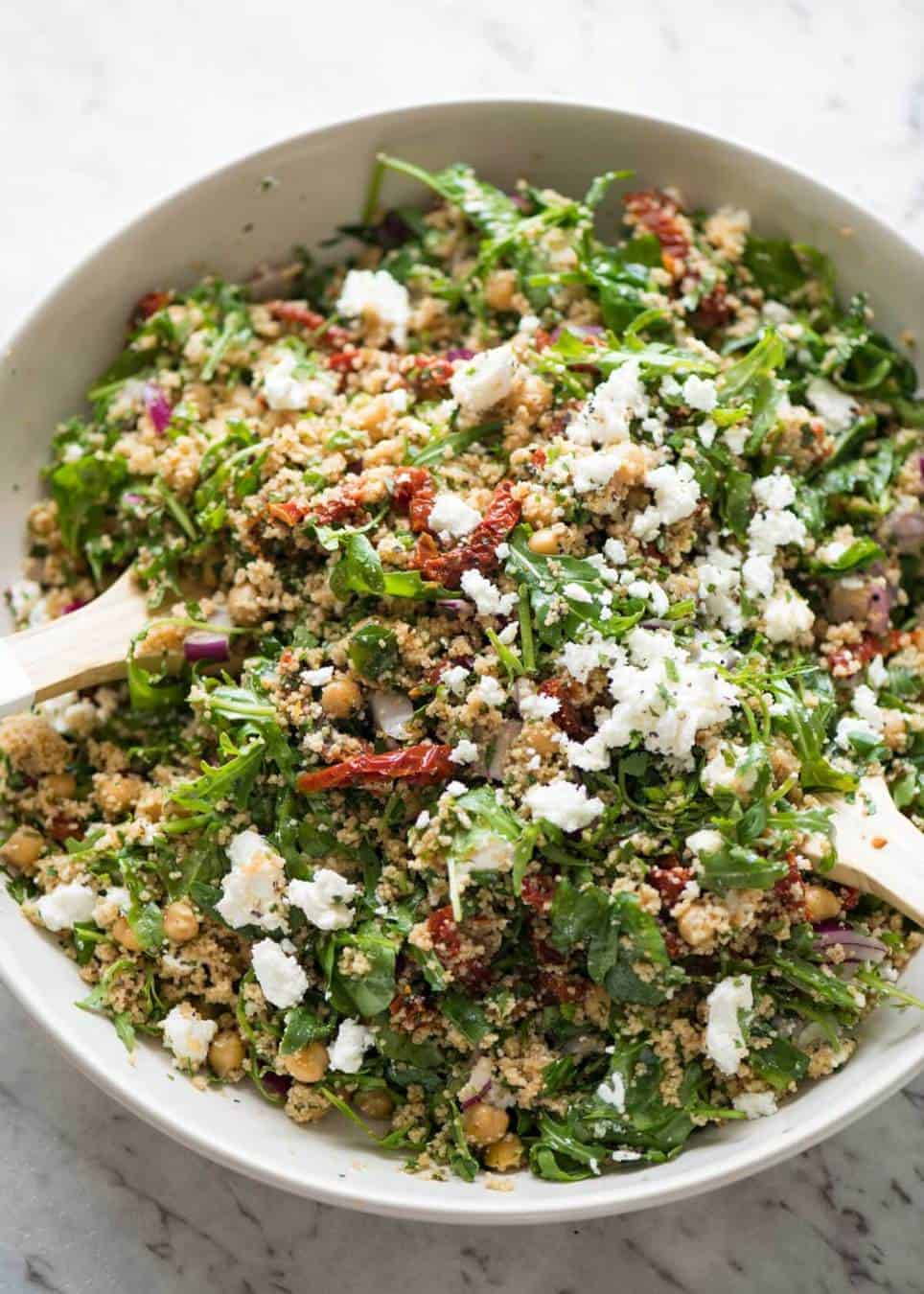 The best 12 minute salad in the world: Couscous Salad with Sun Dried Tomatoes and Feta www.recipetineats.com