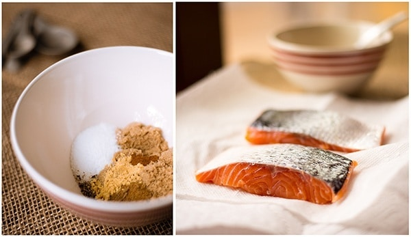 Left photo: bowl of the seasonings used in pan roasted salmon recipe; right photo: raw salmon fillets placed on absorbent paper
