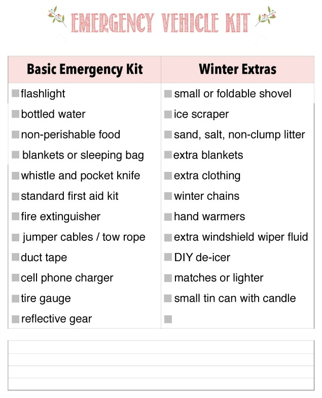 How to prepare an emergency kit for your care and prepare your car for winter driving. Free printable checklist included for car or family binder.