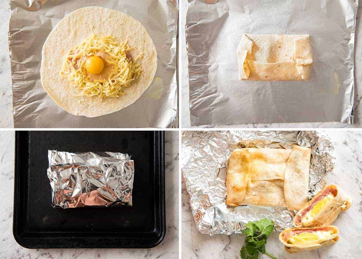 Preparation steps for hot Ham, Egg and Cheese Pockets made with tortillas.